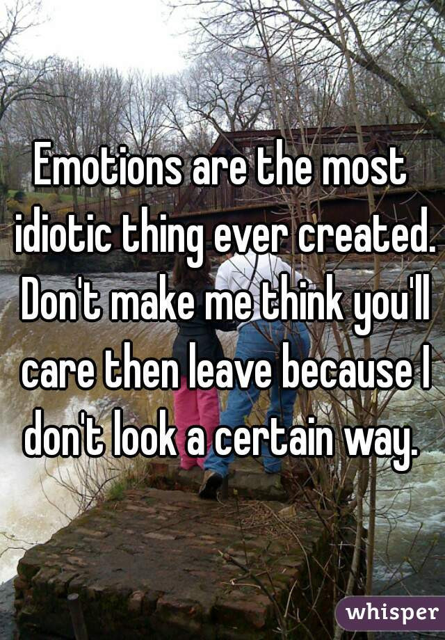 Emotions are the most idiotic thing ever created. Don't make me think you'll care then leave because I don't look a certain way.