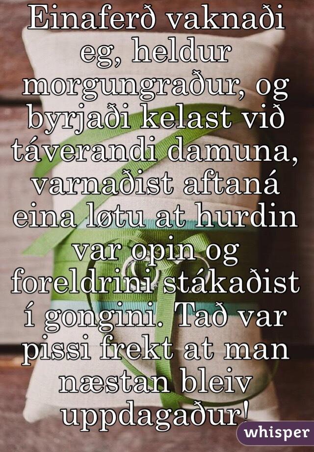 Einaferð vaknaði eg, heldur morgungraður, og byrjaði kelast við táverandi damuna, varnaðist aftaná eina løtu at hurdin var opin og foreldrini stákaðist í gongini. Tað var pissi frekt at man næstan bleiv uppdagaður!