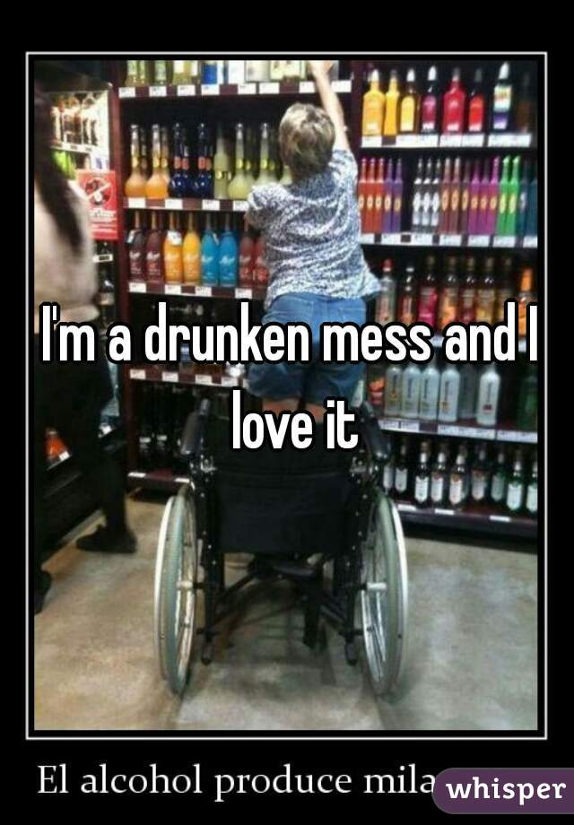 I'm a drunken mess and I love it