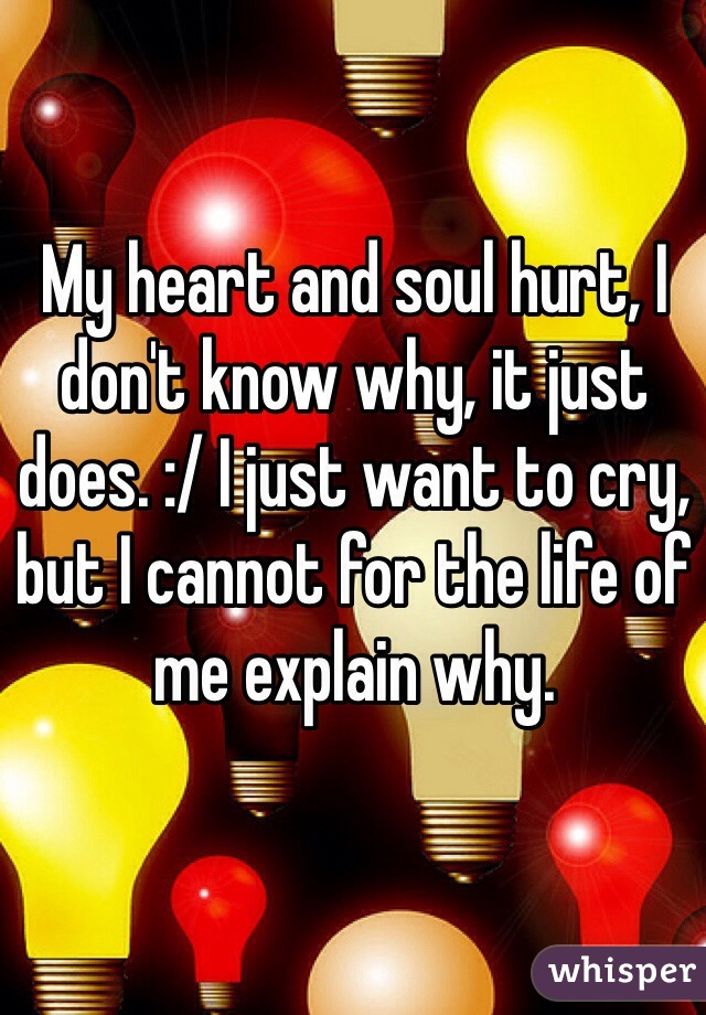 My heart and soul hurt, I don't know why, it just does. :/ I just want to cry, but I cannot for the life of me explain why.