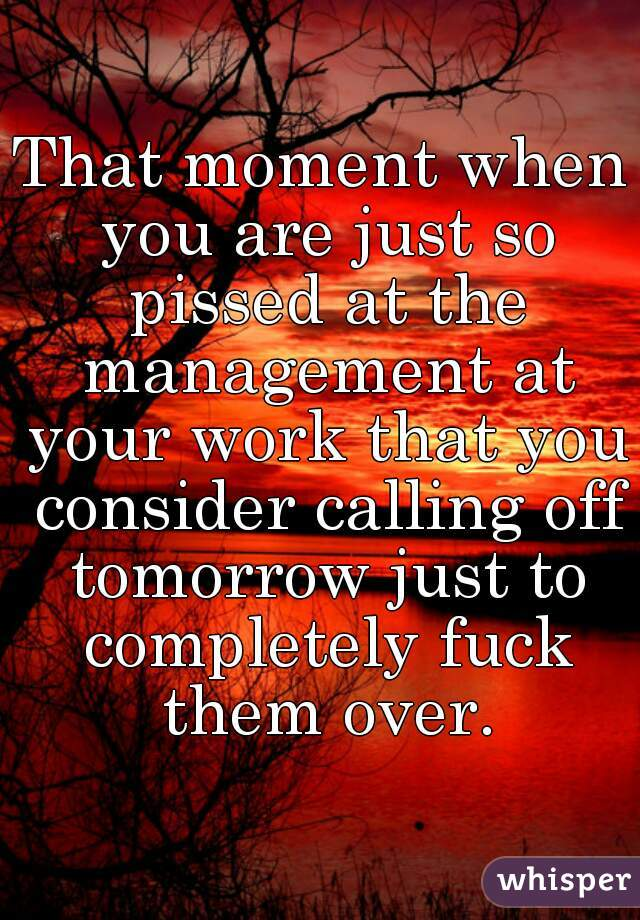 That moment when you are just so pissed at the management at your work that you consider calling off tomorrow just to completely fuck them over.
