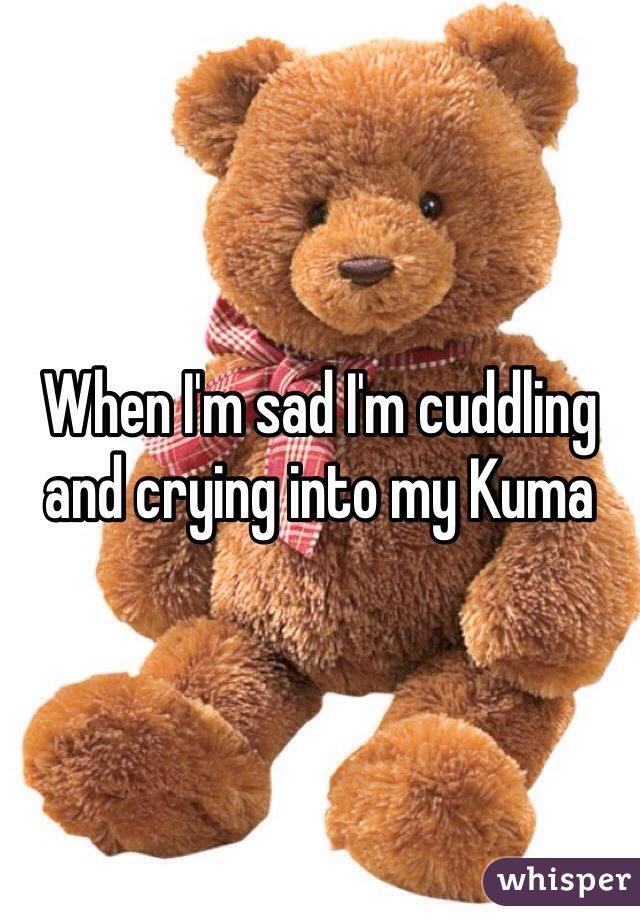 When I'm sad I'm cuddling and crying into my Kuma