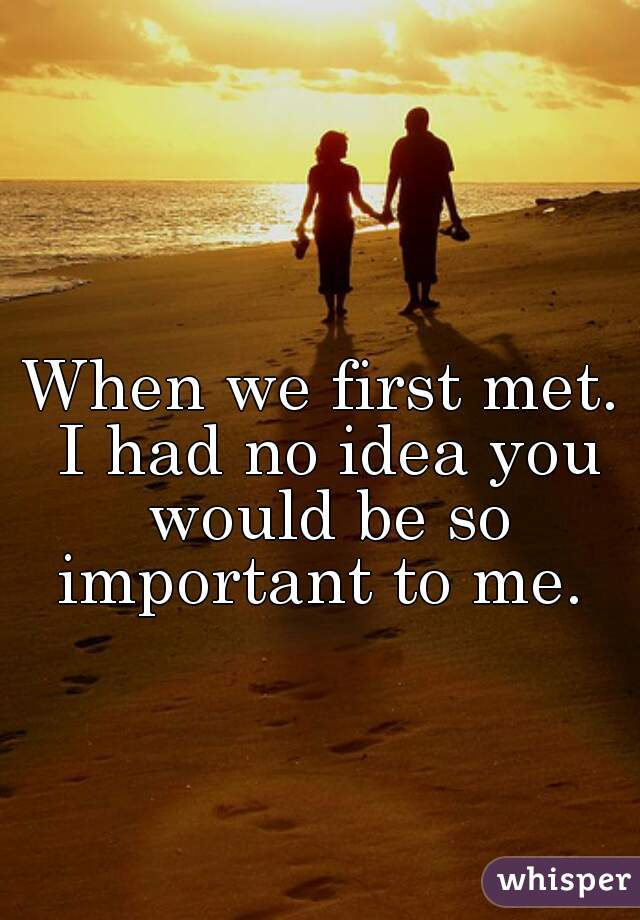 When we first met. I had no idea you would be so important to me.