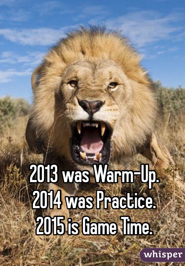2013 was Warm-Up. 2014 was Practice. 2015 is Game Time.