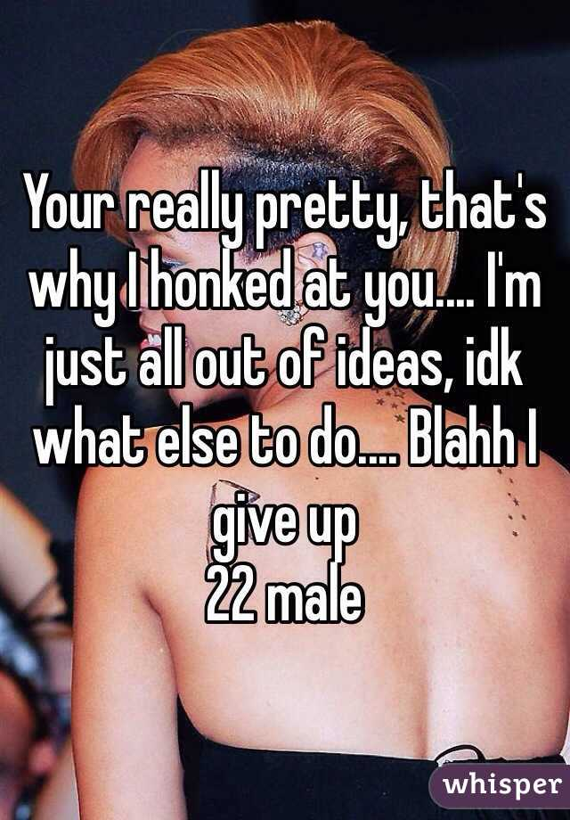 Your really pretty, that's why I honked at you.... I'm just all out of ideas, idk what else to do.... Blahh I give up 22 male