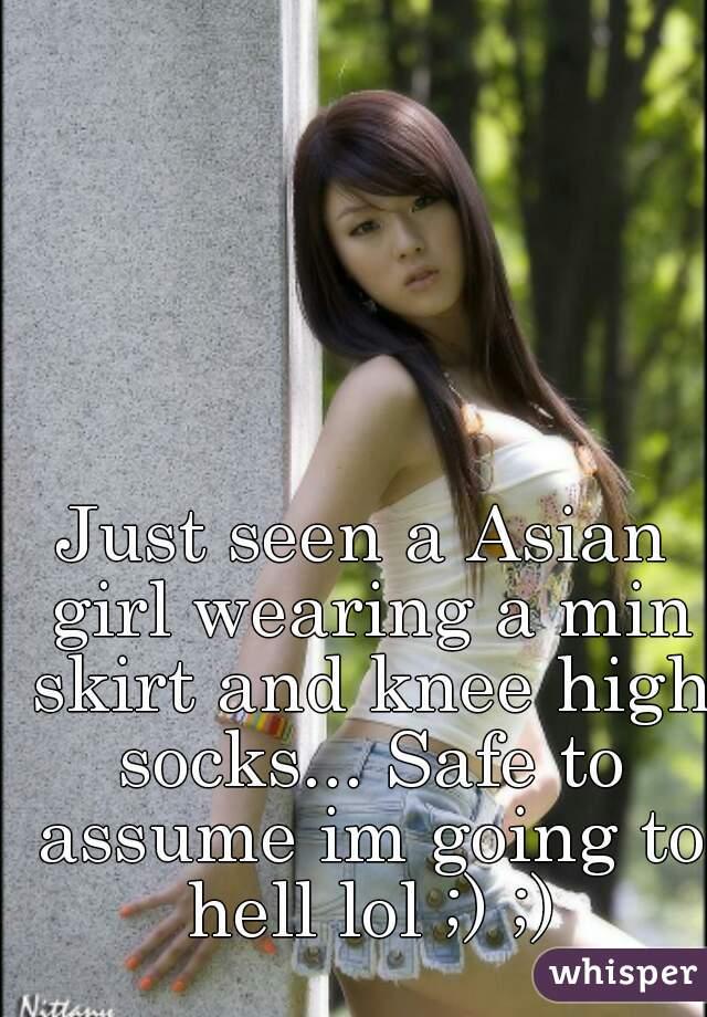 Asian girls wearing kneehigh socks simply