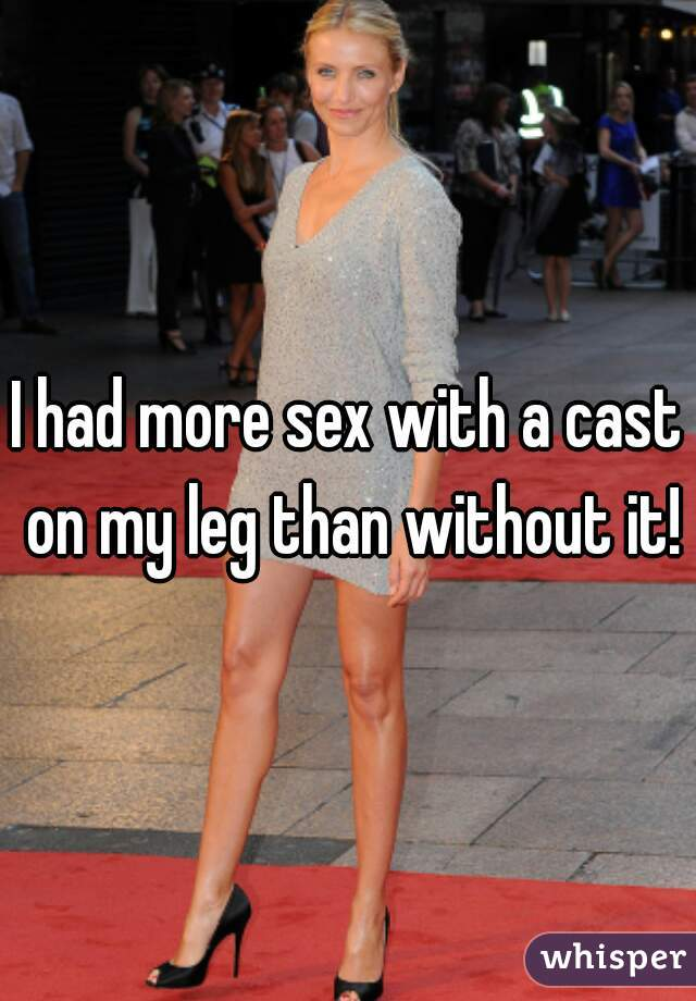 In a leg cast having sex