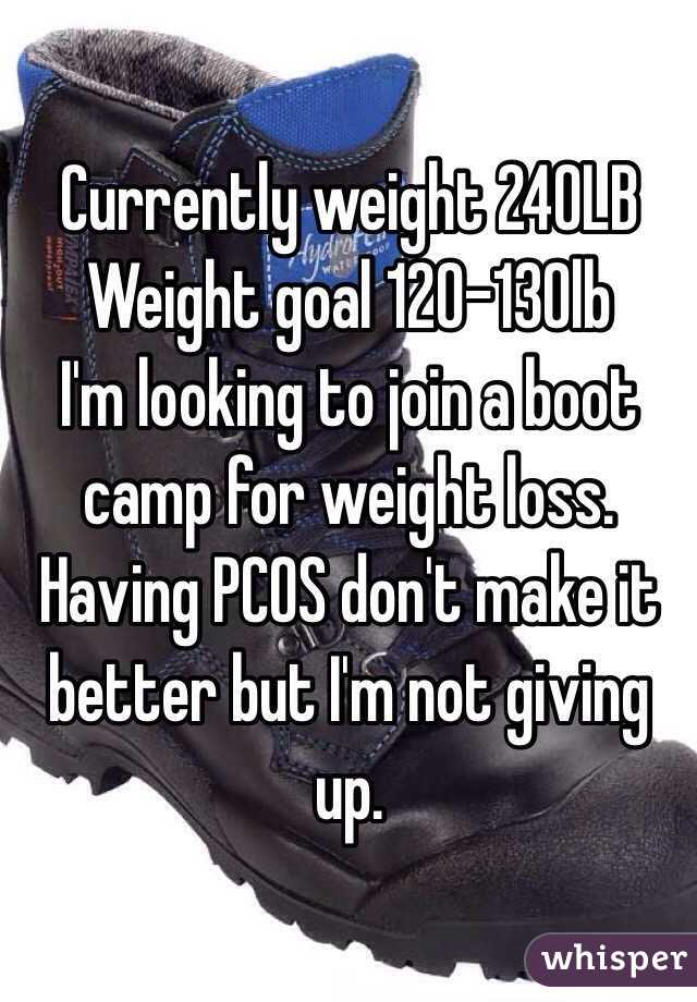 Currently weight 240LB Weight goal 120-130lb   I'm looking to join a boot camp for weight loss. Having PCOS don't make it better but I'm not giving up.