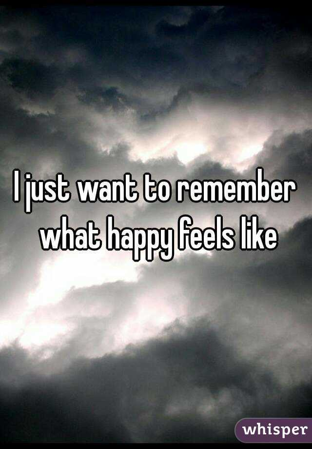 I just want to remember what happy feels like