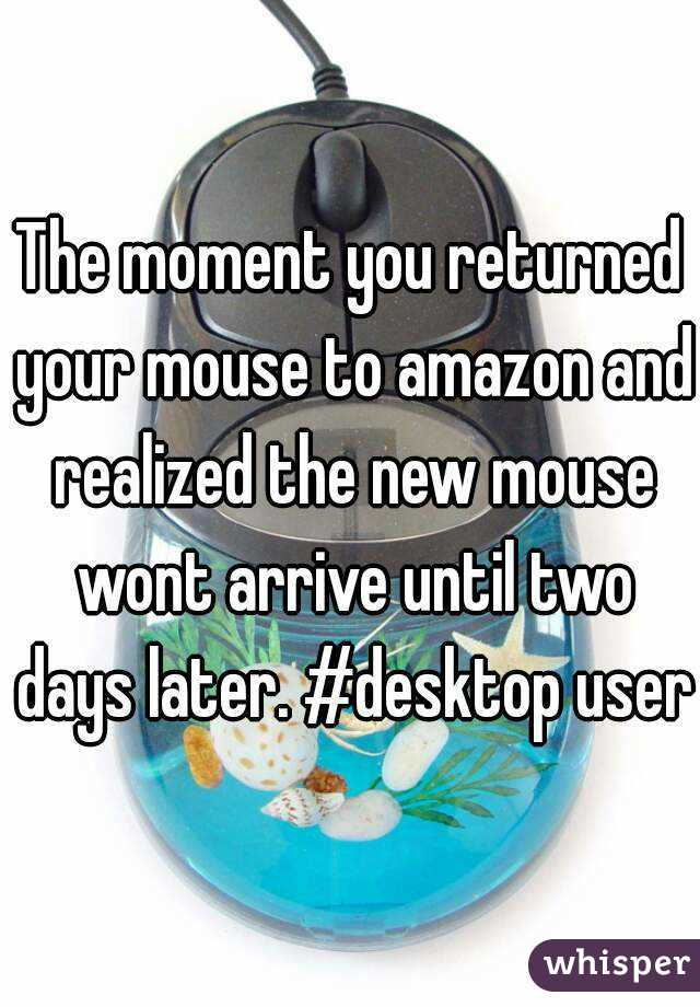 The moment you returned your mouse to amazon and realized the new mouse wont arrive until two days later. #desktop user