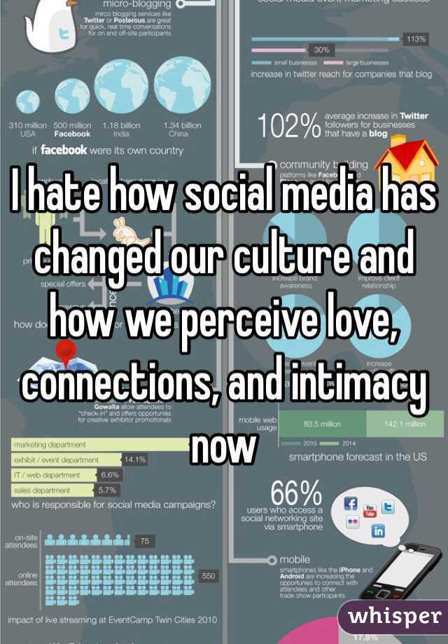 I hate how social media has changed our culture and how we perceive love, connections, and intimacy now
