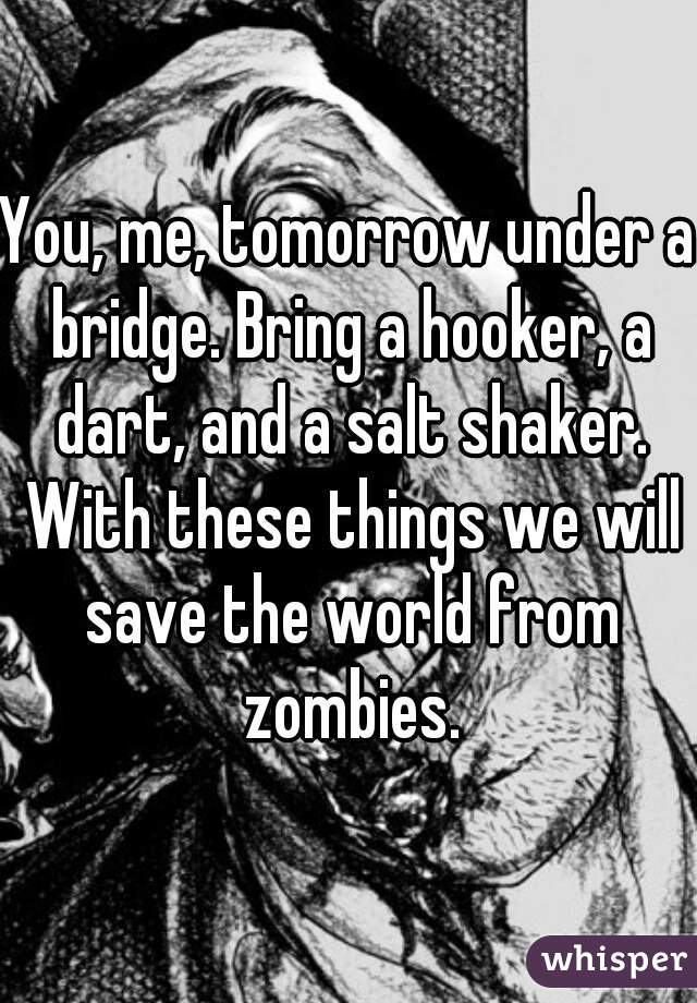 You, me, tomorrow under a bridge. Bring a hooker, a dart, and a salt shaker. With these things we will save the world from zombies.