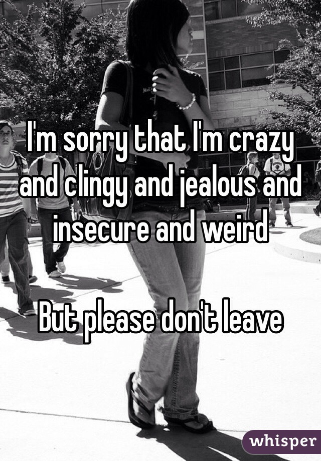 I'm sorry that I'm crazy and clingy and jealous and insecure and weird  But please don't leave