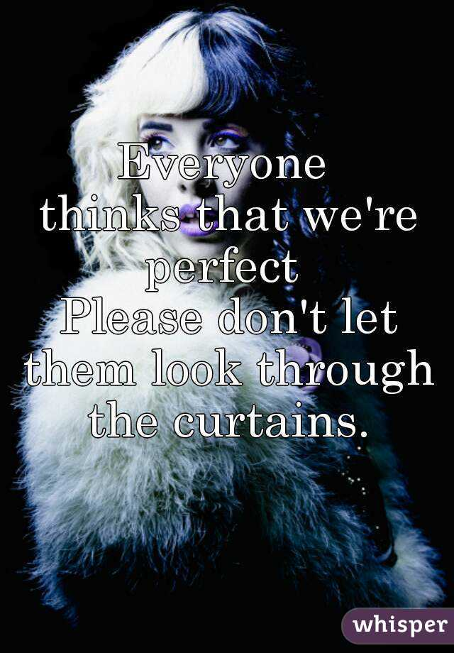 Everyone  thinks that we're perfect  Please don't let them look through  the curtains.