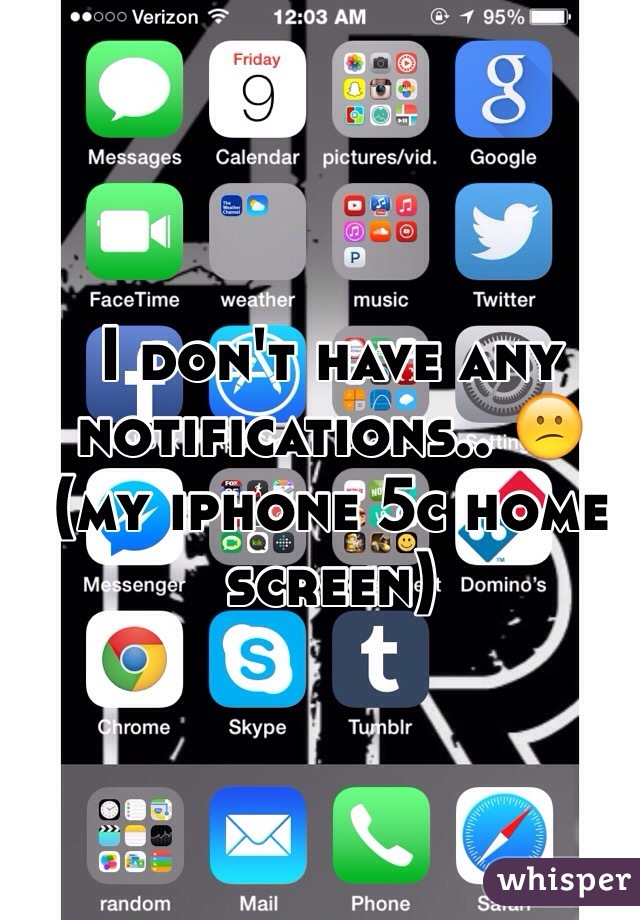 I don't have any notifications.. 😕 (my iphone 5c home screen)