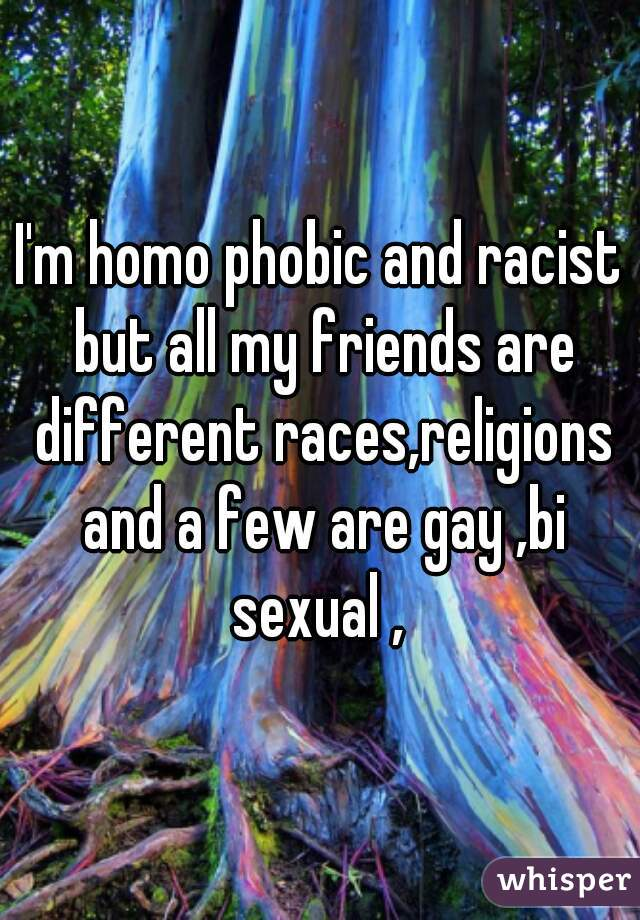I'm homo phobic and racist but all my friends are different races,religions and a few are gay ,bi sexual ,