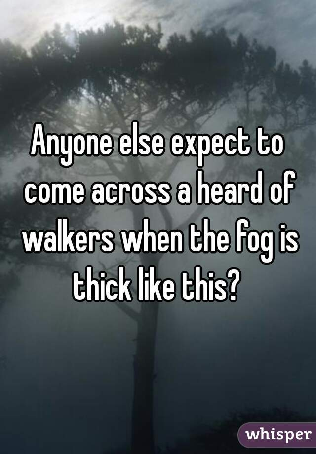 Anyone else expect to come across a heard of walkers when the fog is thick like this?