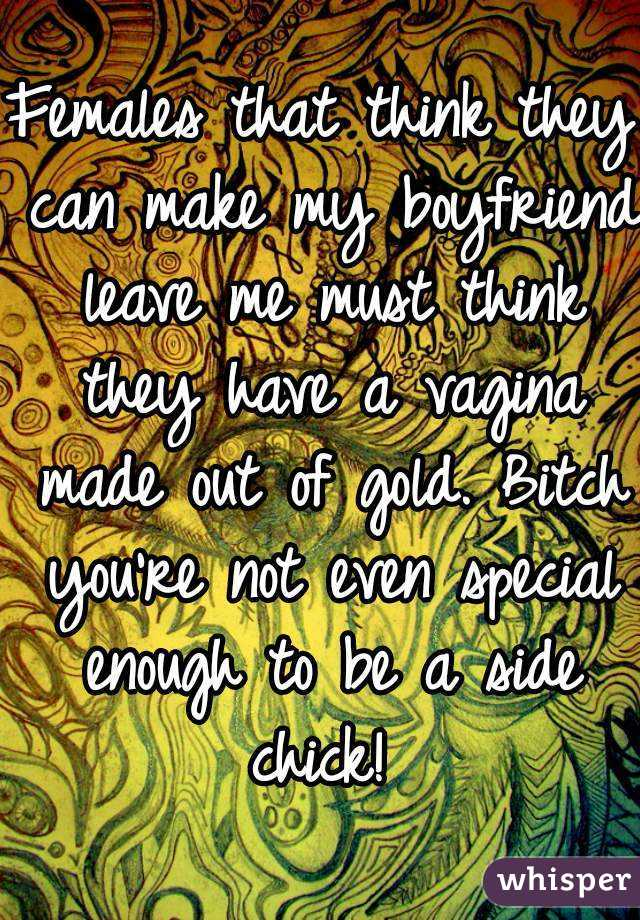Females that think they can make my boyfriend leave me must think they have a vagina made out of gold. Bitch you're not even special enough to be a side chick!