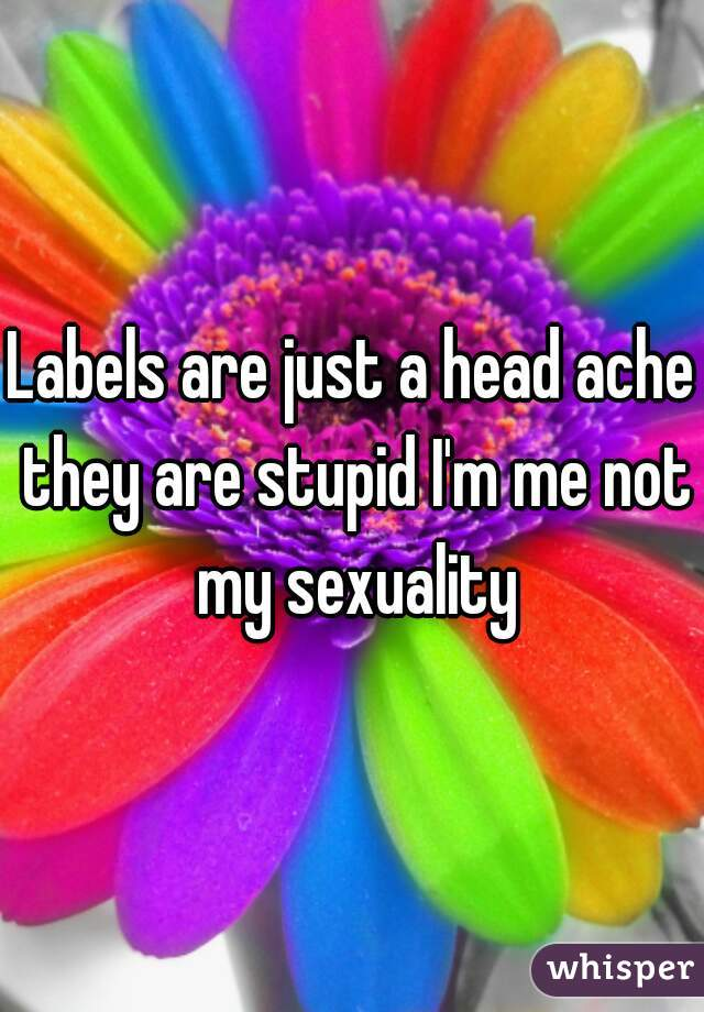 Labels are just a head ache they are stupid I'm me not my sexuality