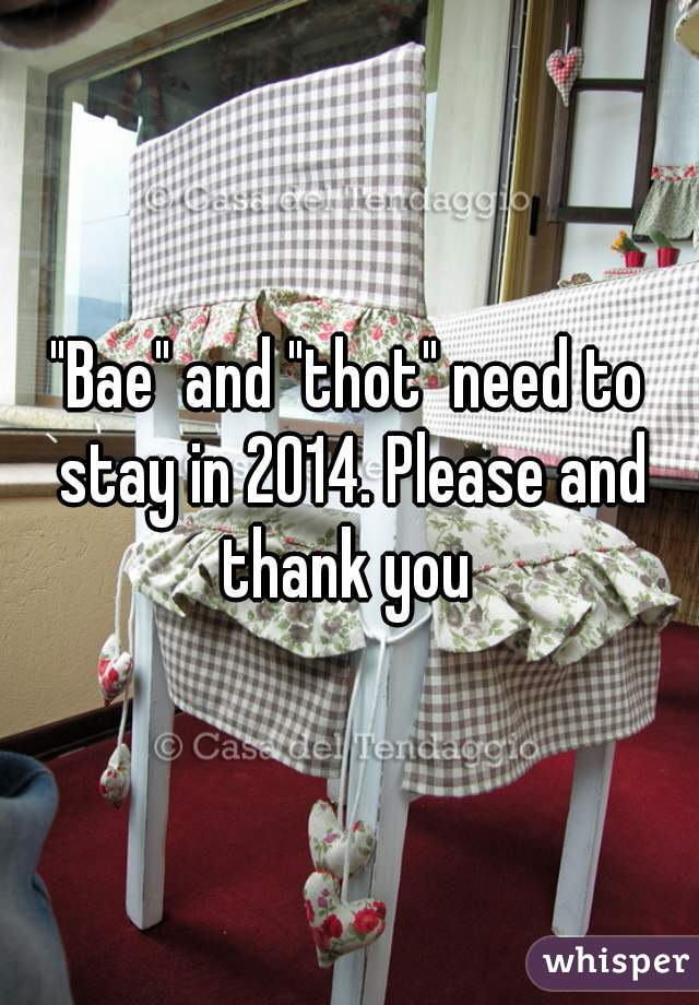 """""""Bae"""" and """"thot"""" need to stay in 2014. Please and thank you"""