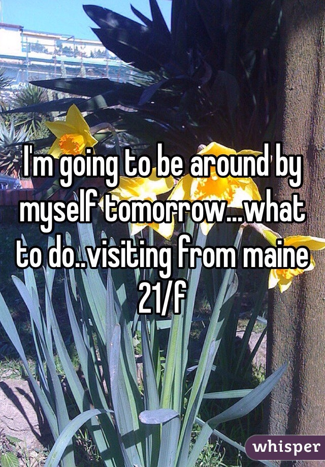 I'm going to be around by myself tomorrow...what to do..visiting from maine 21/f