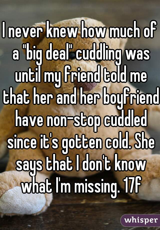 """I never knew how much of a """"big deal"""" cuddling was until my friend told me that her and her boyfriend have non-stop cuddled since it's gotten cold. She says that I don't know what I'm missing. 17f"""