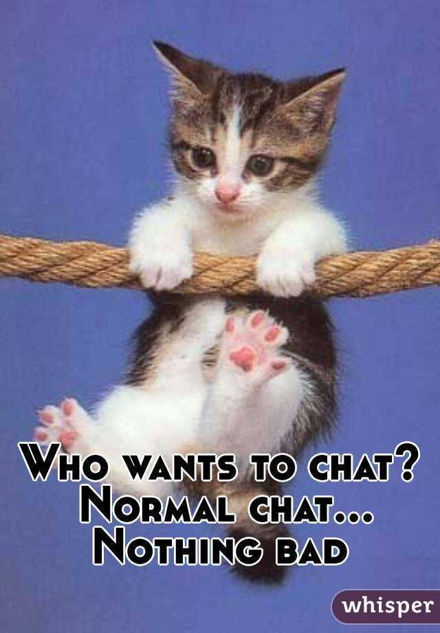 Who wants to chat? Normal chat... Nothing bad
