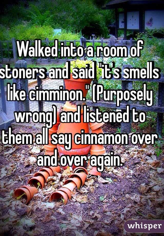 """Walked into a room of stoners and said """"it's smells like cimminon."""" (Purposely wrong) and listened to them all say cinnamon over and over again."""