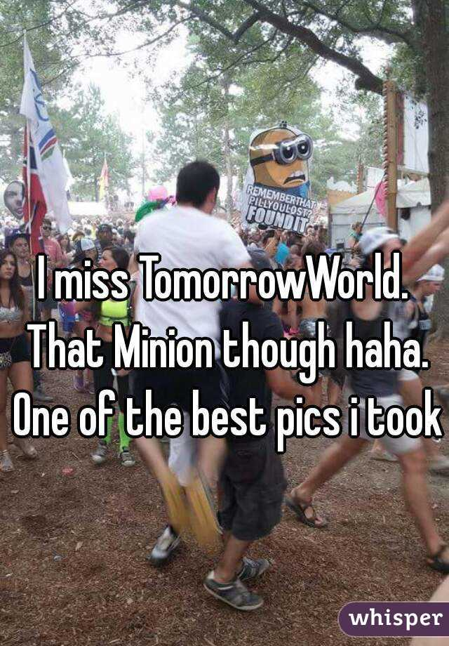 I miss TomorrowWorld. That Minion though haha. One of the best pics i took