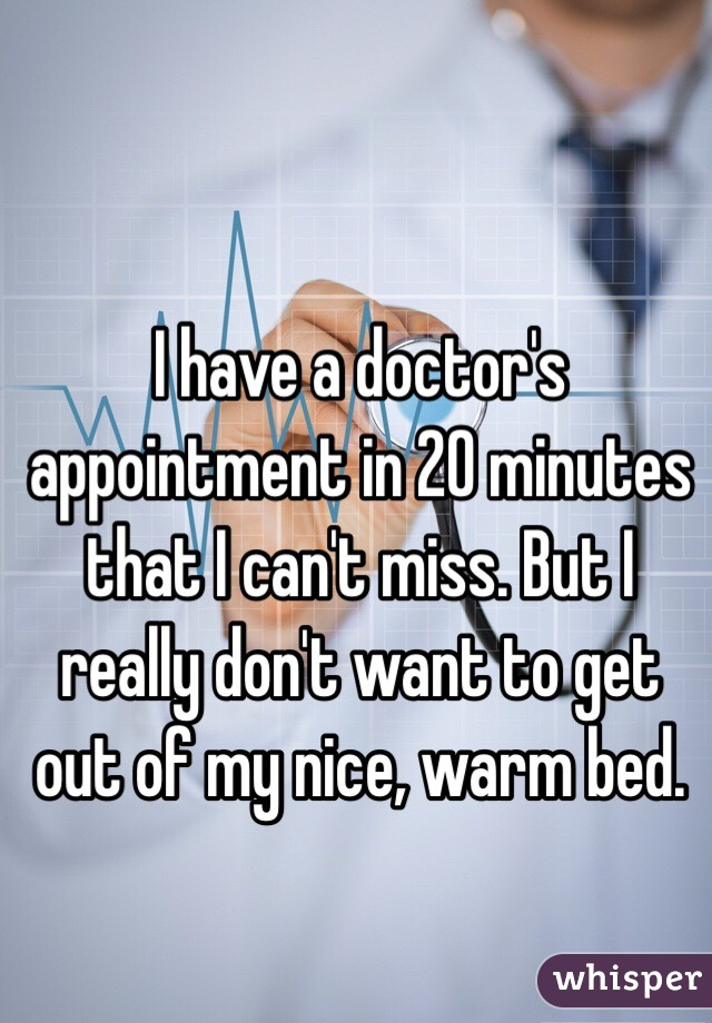 I have a doctor's appointment in 20 minutes that I can't miss. But I really don't want to get out of my nice, warm bed.