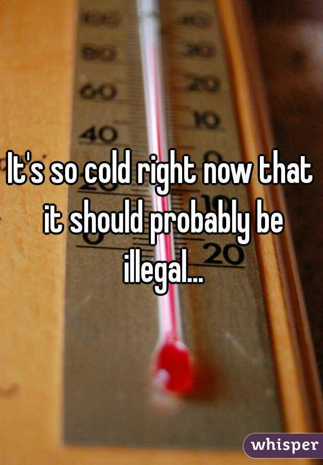It's so cold right now that it should probably be illegal...