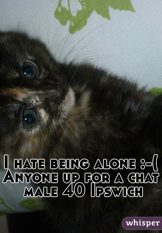 I hate being alone :-( Anyone up for a chat male 40 Ipswich