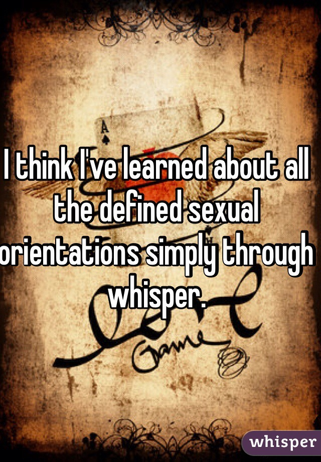 I think I've learned about all the defined sexual orientations simply through whisper.