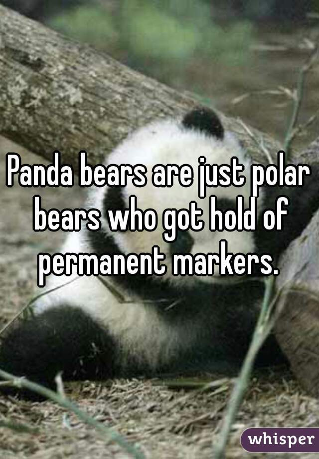 Panda bears are just polar bears who got hold of permanent markers.