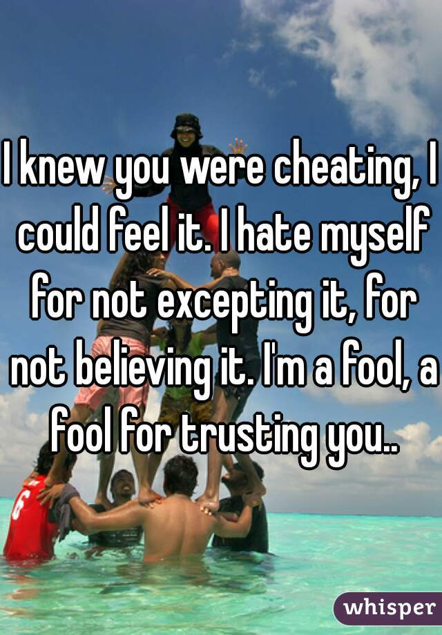I knew you were cheating, I could feel it. I hate myself for not excepting it, for not believing it. I'm a fool, a fool for trusting you..