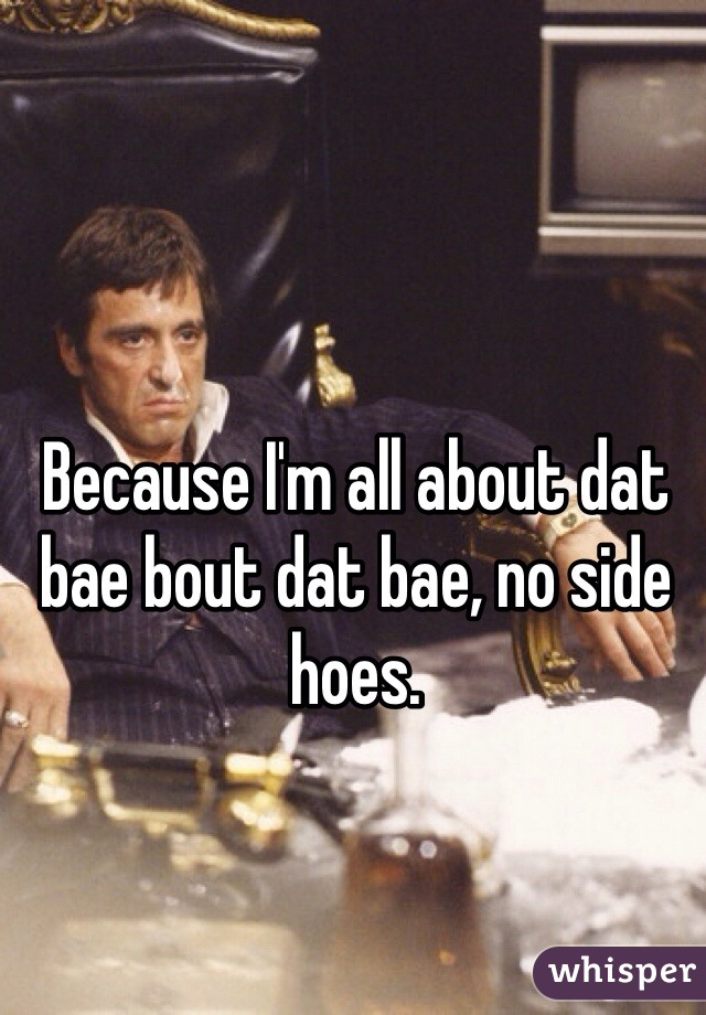 Because I'm all about dat bae bout dat bae, no side hoes.