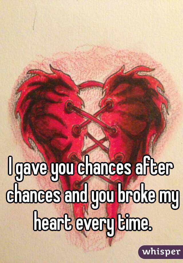I gave you chances after chances and you broke my heart every time.