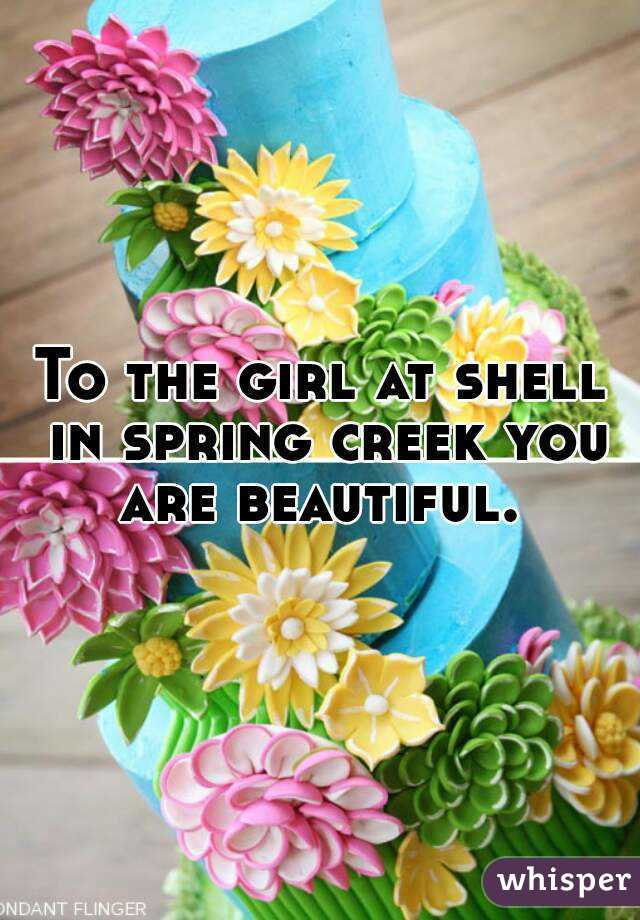 To the girl at shell in spring creek you are beautiful.