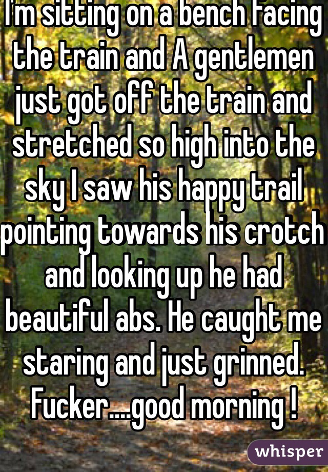 I'm sitting on a bench facing the train and A gentlemen just got off the train and stretched so high into the sky I saw his happy trail pointing towards his crotch and looking up he had beautiful abs. He caught me staring and just grinned. Fucker....good morning !