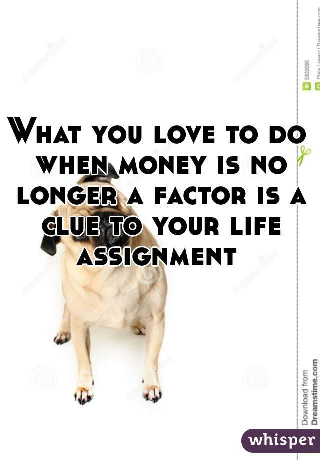 What you love to do when money is no longer a factor is a clue to your life assignment