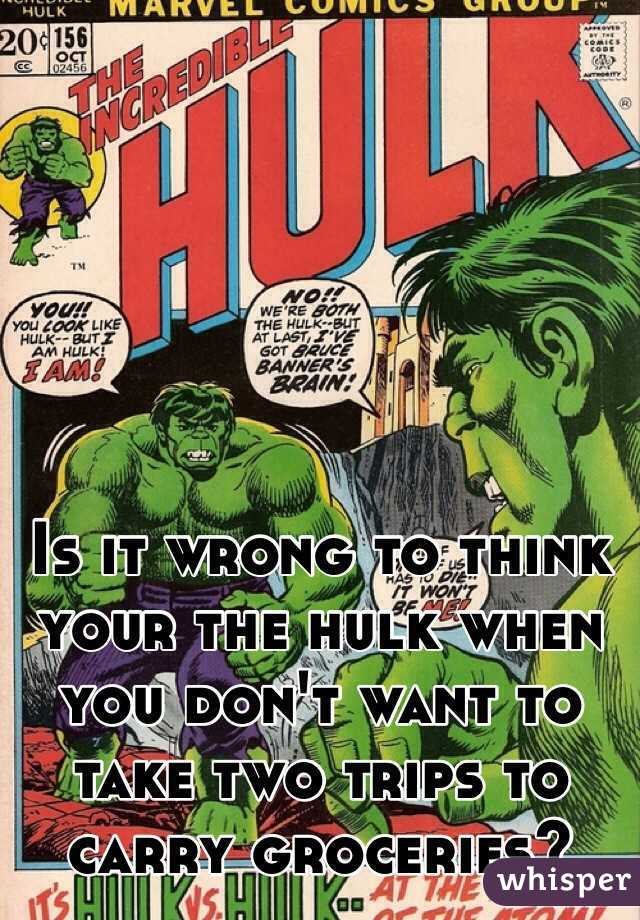 Is it wrong to think your the hulk when you don't want to take two trips to carry groceries?