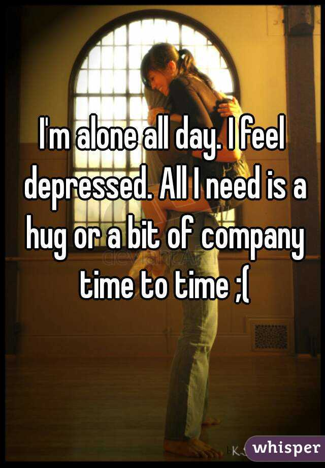 I'm alone all day. I feel depressed. All I need is a hug or a bit of company time to time ;(