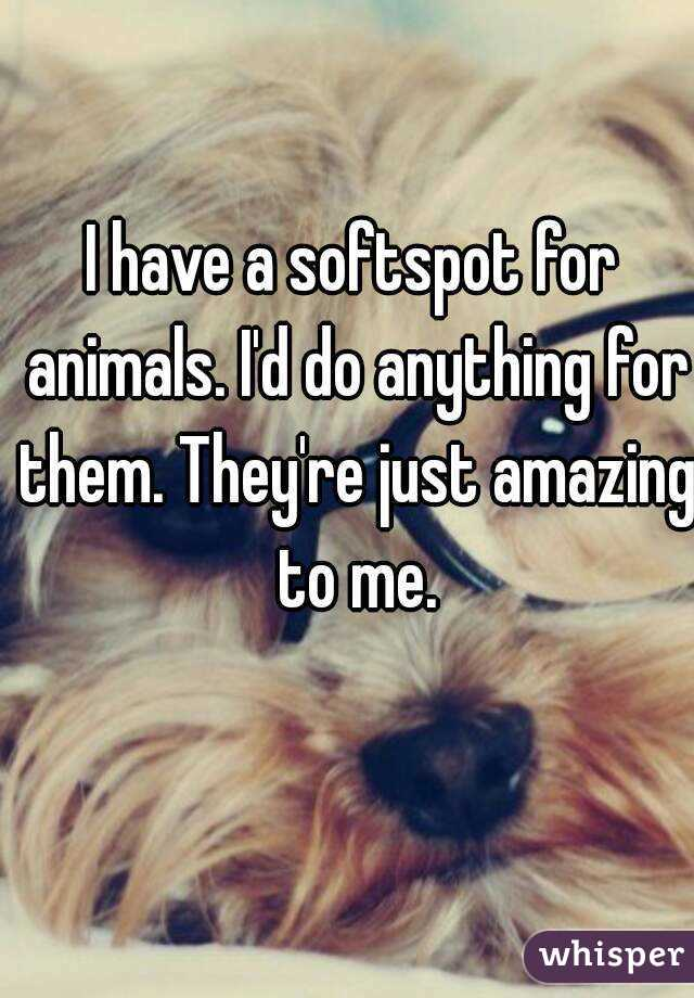 I have a softspot for animals. I'd do anything for them. They're just amazing to me.