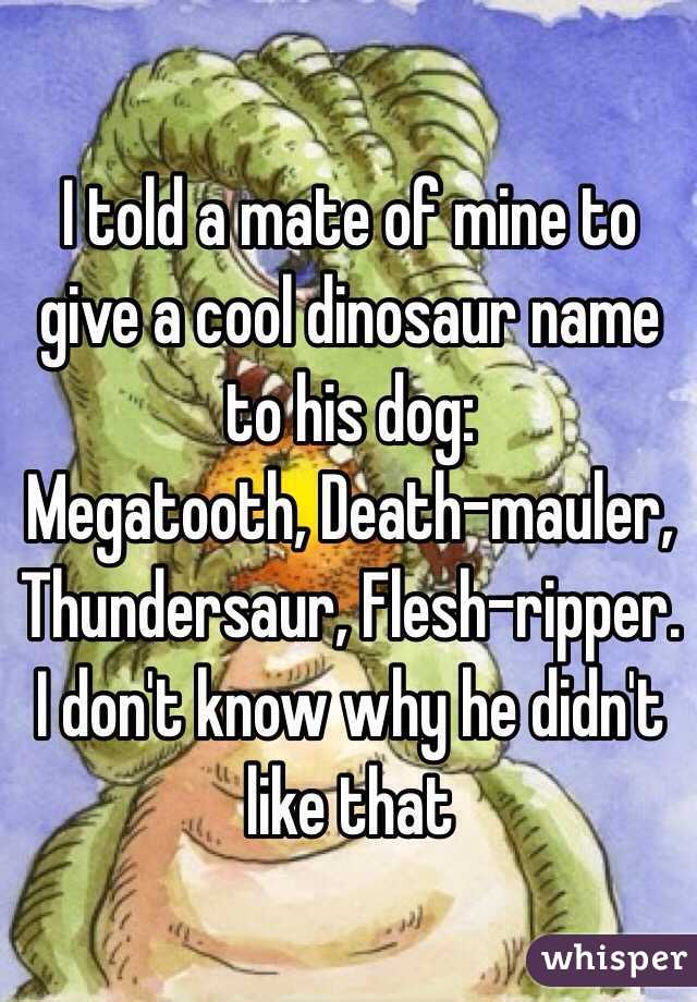 I told a mate of mine to give a cool dinosaur name to his dog: Megatooth, Death-mauler, Thundersaur, Flesh-ripper. I don't know why he didn't like that