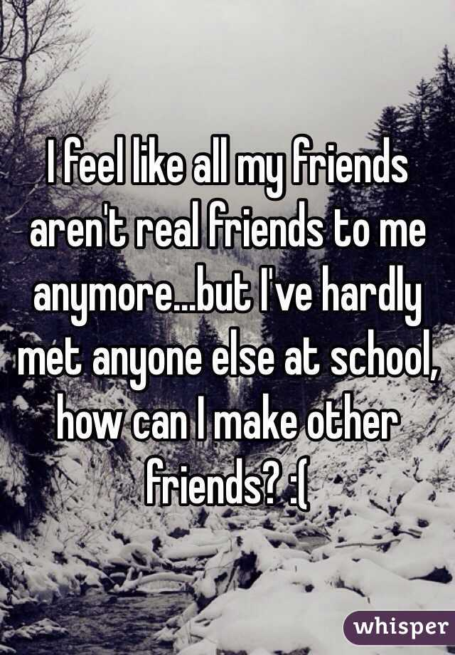 I feel like all my friends aren't real friends to me anymore...but I've hardly met anyone else at school, how can I make other friends? :(