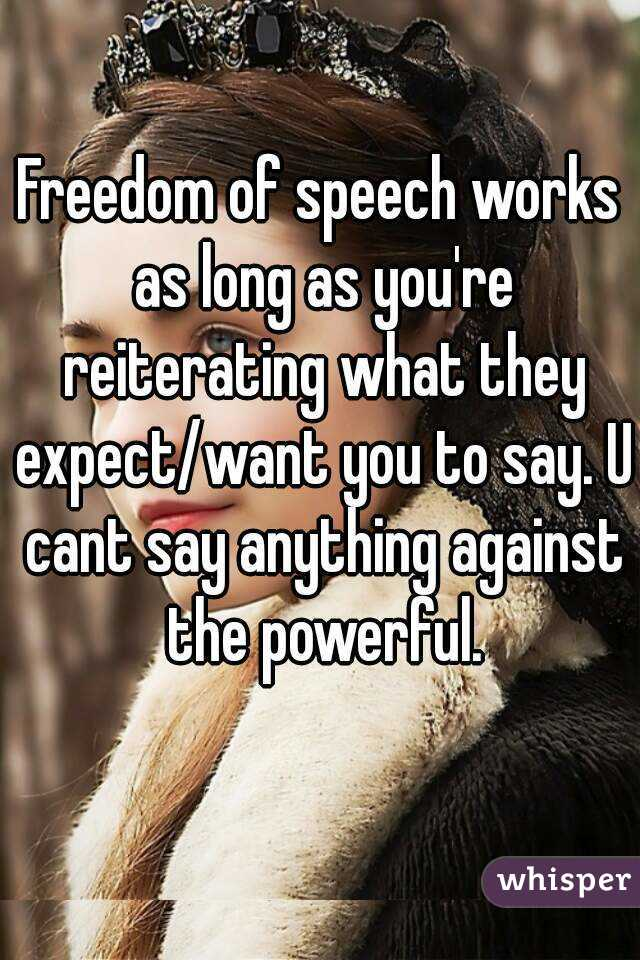 Freedom of speech works as long as you're reiterating what they expect/want you to say. U cant say anything against the powerful.