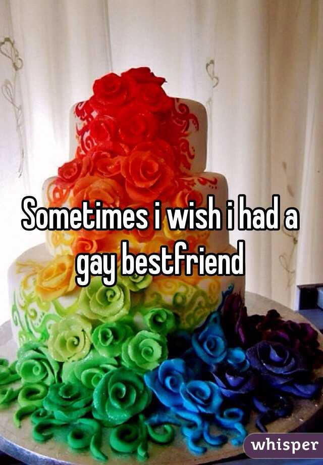 Sometimes i wish i had a gay bestfriend