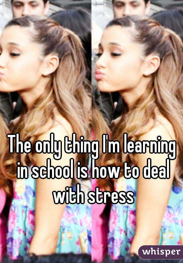 The only thing I'm learning in school is how to deal with stress