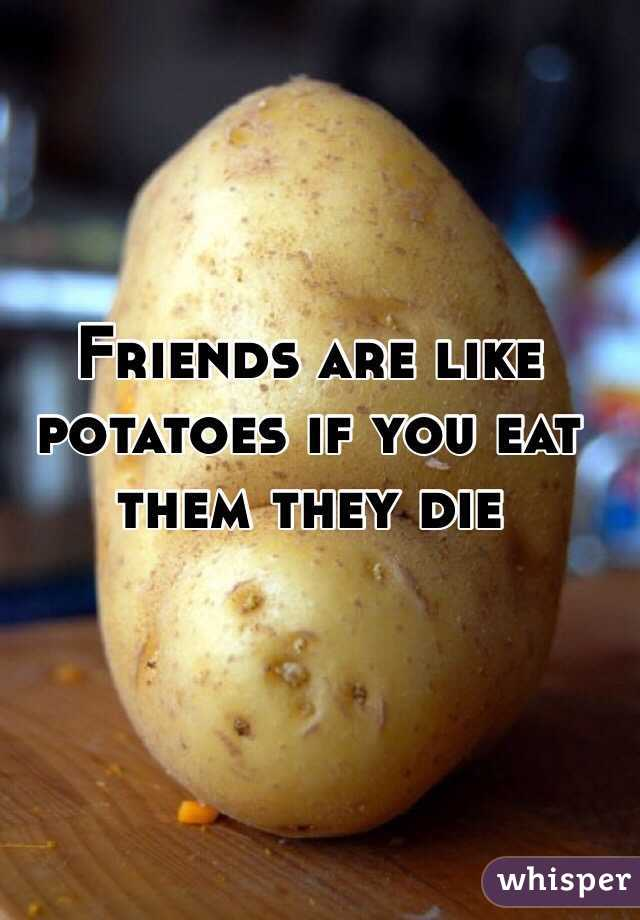 Friends are like potatoes if you eat them they die