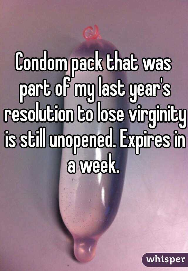 Condom pack that was part of my last year's resolution to lose virginity is still unopened. Expires in a week.